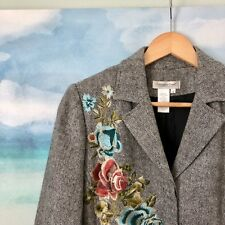 Coldwater Creek Tweed Embroidered floral blazer coat size Small