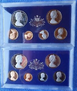 1971 & 1972 PAIR OF RARE PROOF SETS AUSTRALIAN *STUNNING COINS SET IN FOAMS**