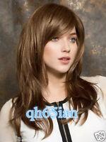 New Fashion Women's ladies long Brown Natural Hair full wigs + free Wig cap