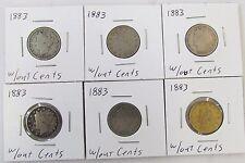 Lot of 6 1883 No CENTS Liberty Head Five Cents