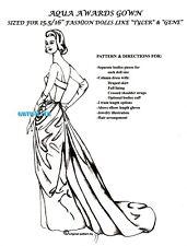 GENE / BARBIE/ TYLER/ FM doll GRACE KELLY1954 AQUA AWARDS Ceremony DRESS PATTERN