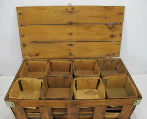 Vintage HTF Crate Holds 16 Quart Wooden Berry Baskets Fruit Farm Containers yqz