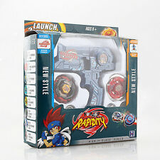 Blue Metal Fusion Hybrid Wheel Fight Dual Launcher + 2 Beyblade Set Toy with Box