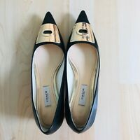 COACH Womens Black Leather Pointed Toe Pumps Classic Block Heels Size 8 B
