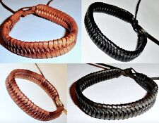 Leather Bracelet Black Brown Braid Friendship Wristband Surfer Tribal Boho Mens