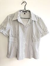 Marco Polo Size 14 Button Front Blouse White with Black Stripes Office Career