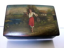 RUSSIAN pappier-mache lacquer box / village scene c.1920