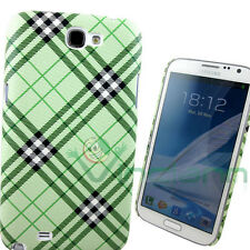 Custodia rigida PLAID VERDE per Samsung N7100 Galaxy Note 2 II back cover SLIM