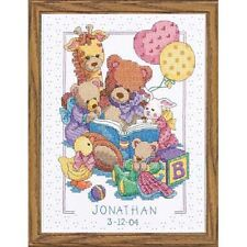 Cross Stitch Kit TEDDY AND FRIENDS BIRTH RECORD Baby Dimensions