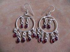 Garnet & Sterling Silver .925 Round Chandelier dangle Earrings Taxco Mexico