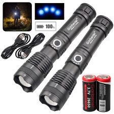 Ultra Bright 99000LMS XHP70 18650 26650 USB Rechargeable Flashlight Torch Light