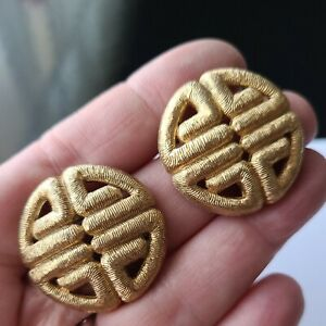 """Vintage Givenchy Gold Tone Signature Pierced Earrings 1.25"""" D"""