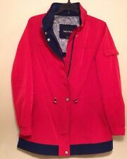 Women's Red Nautica Sailing Jacket With Hood In Zipper - Medium -Zip And Buttons