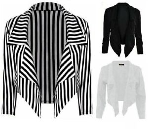 Cropped Style Waterfall Blazer Jacket Coat Top Ladies&Women Plus Size UK (8-26)