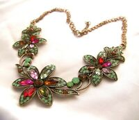 Stunning Retro Vintage Style Multi Colored Rhinestone & Glass Flower Necklace