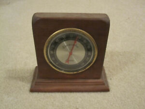 Vintage Verichron Thermometer wooden brass table top used