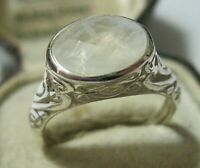 Beautiful Sterling Solid SILVER Real Moon Stone RING Jewellery Size N 6.75