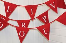 Liverpool printed bunting Red flags with white print ** Football