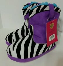 Sweet Girls Plush Slipper Boots SZ 13/1 NWT New Purple Black Zebra Stripe 836