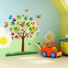 Wandtattoo bunt Kinderzimmer Baby Vogel Schmetterling Baum Sticker Aufkleber *-~