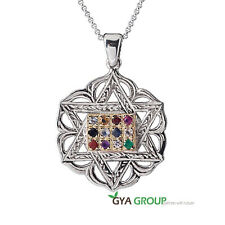 A Divine Kabbalah Magen David silver pendant with 9K Gold & breastplate stones