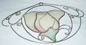 blooming rose Flower design shell & brass sun catcher faux stained glass artwork