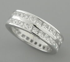 NEW STERLING SILVER CZ FULL ETERNITY WEDDING BAND RING SIZE 5.75 PRINCESS CUT