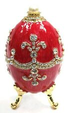 Faberge Egg Trinket Box Jewel Easter Egg Box with Crystals, Pearly Red Color