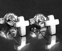 925 ECHT SILBER RHODINIERT *** Ohrstecker Kreuz glänzend 6 mm