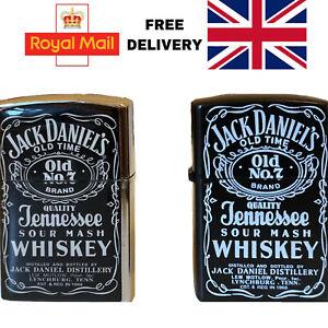 Windproof Lighter  Metal Case Jack Daniels SilverChrome Black Fluid Gas UK