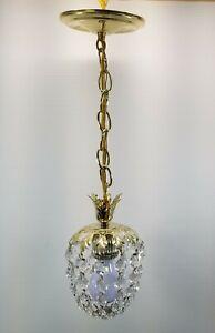 MI) Gold Tone Pendant Hanging Jewels Sphere Oval Chandelier Chain Light Fixture