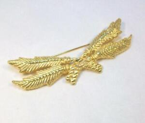 Vintage Signed GIVENCHY Gold Tone Crossed Roped Feathers Pin - Unusual Design