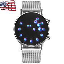 Luxury Mens Luminous LED Digital Wrist Watch Stainless Steel Bracelet Watches