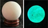 "65g RARE ! ""Glow In The Dark"" Quartz Crystal Sphere Egg - Blue Luminous! + Stand"
