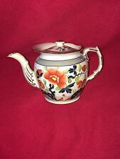 Staffordshire Pearlware Gaudy Dutch Single Rose Round Teapot Ca. 1820