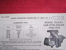 1940-1948 DODGE CAB-OVER-ENGINE TRUCK CARTER CARBURETOR SPEC & INFO SHEET