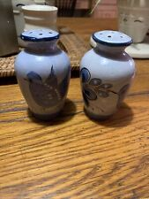 Tonala Mexican Art Pottery Salt and Pepper Shakers Blue and Gray Bird And Flower