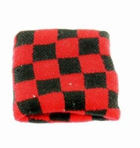 Unisex Black and Red Check Checkered Wristband Sweatband - Brand New