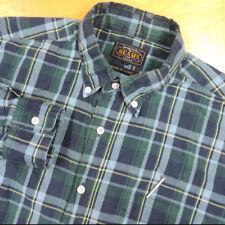 BEAMS + PLUS Dark Blue Green & Yellow Plaid Btn Down Cotton Shirt Sml JAPAN EUC