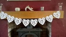 White Lace Effect Heart Bunting Garland Banner Party White Wedding Decoration 2m
