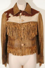 RRL Double RL Brown Leather Fringe Western Jacket Cow Hide Yoke Sz 2 $2200 #3