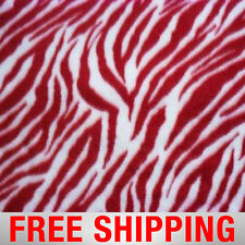 "Fleece Fabric Zebra White Red 60"" Wide Free Shipping Style PT 966"