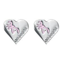 Browning Buckmark Silver Heart Stud Earrings - Pink Bling