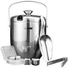 VIVOHOME 3 Quart Stainless Steel Double Wall Insulated Ice Bucket Set