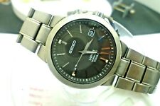 "Mens 37.5mm SEIKO KINETIC TITANIUM Sapphire  5M62-0BE0 8""  Watch New Capacitor"