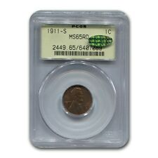 1911-S Lincoln Cent Ms-65 Pcgs Cac (Red)