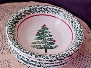 Christmas Tree Bowls Lot of 4 Furio Ceramic Sponge Art Soup Salad Made in Italy