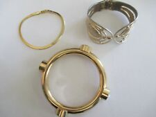 Lot of 3 Vintage Gold-Tone Bracelets Chunky Rhinestone, Hinged, Chain Modern FUN