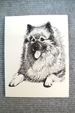 Keeshond Pen and Ink Stationary Cards, Note Cards, Greeting Cards.  10 pack.