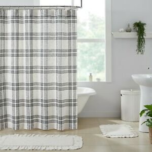 VHC Black Soft White Plaid Country Cottage Farmhouse Fabric Shower Curtain